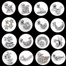 1PC Steel Ear Tragus Cartilage Piercing Crystal Moon Star Earring Conch Stud Helix