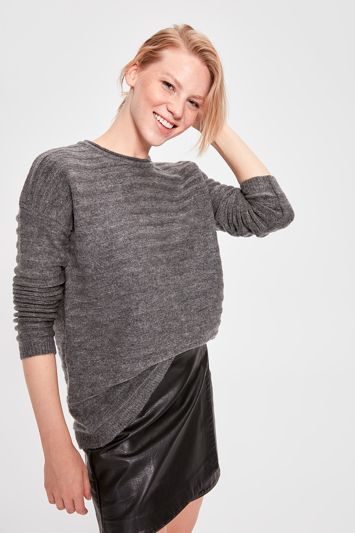 Trendyol Anthracite Bike Collar Braided Knitwear Sweater TWOAW20KZ0210
