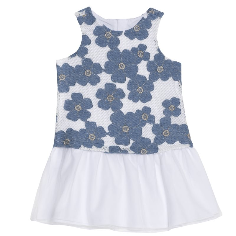 лучшая цена Dress Chicco, size 104, print flowers (Blue White)