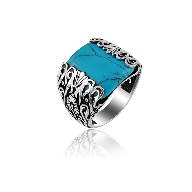 Original 925 Silver Classic Daily Turquoise Statement Ottoman Ring High Quality Male To Male for Men Bohemian Style Punk Rings for Men