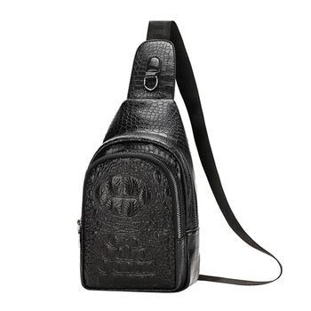 New Fashion Men Chest Bag Messenger Bags Leather Casual Men's Travel Shoulder Bags Crocodile Pattern Crossbody Bag