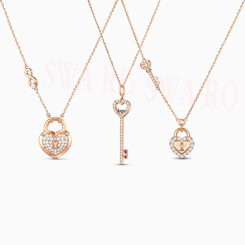SWA 2020 New Fashion Exquisite Rose Key Lock I Love Heart-shaped Necklace Give Wife A Classic Romantic Anniversary Birthday Gift