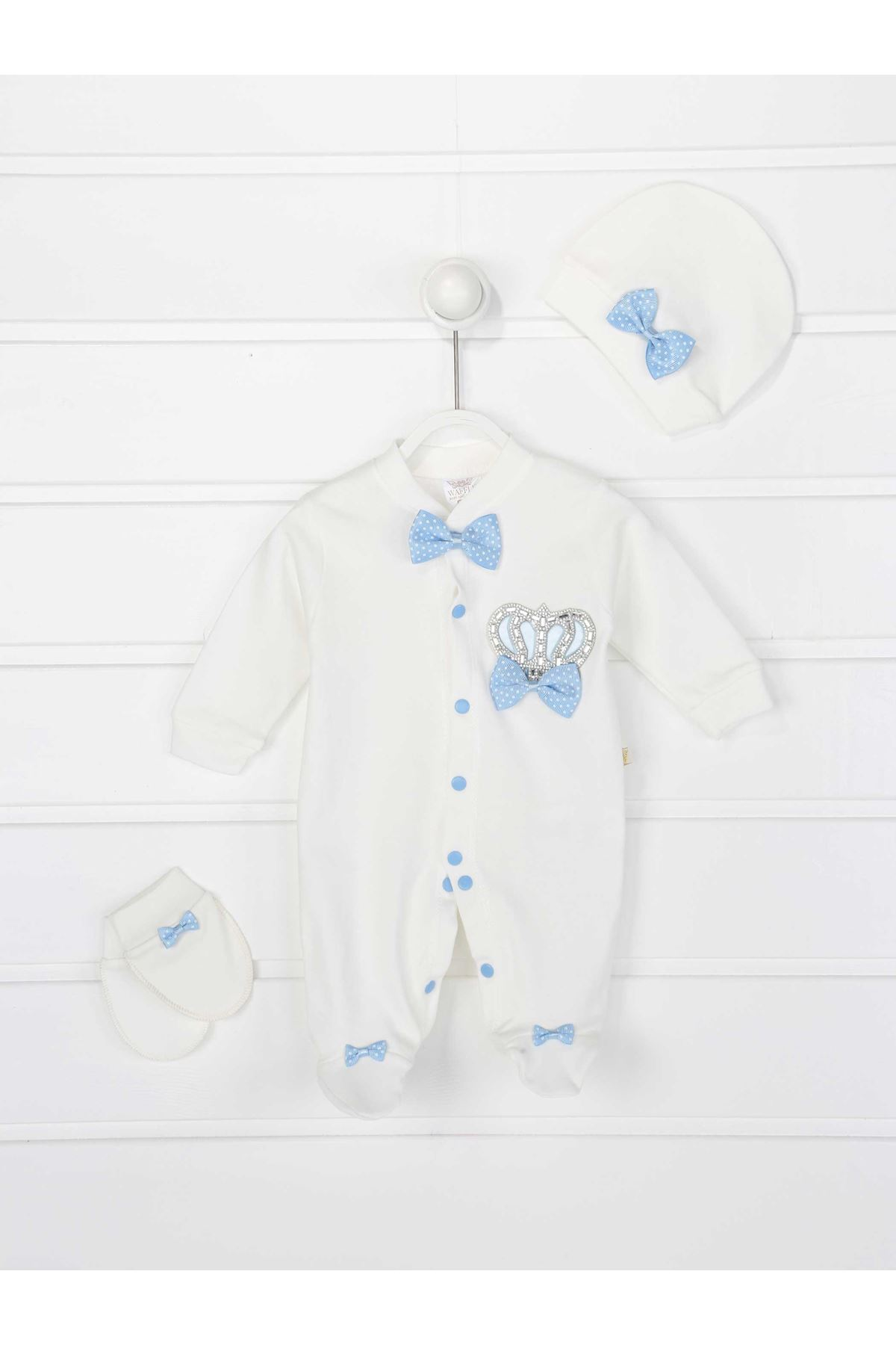 Blue King Crowned Male Baby 3 PCs Rompers