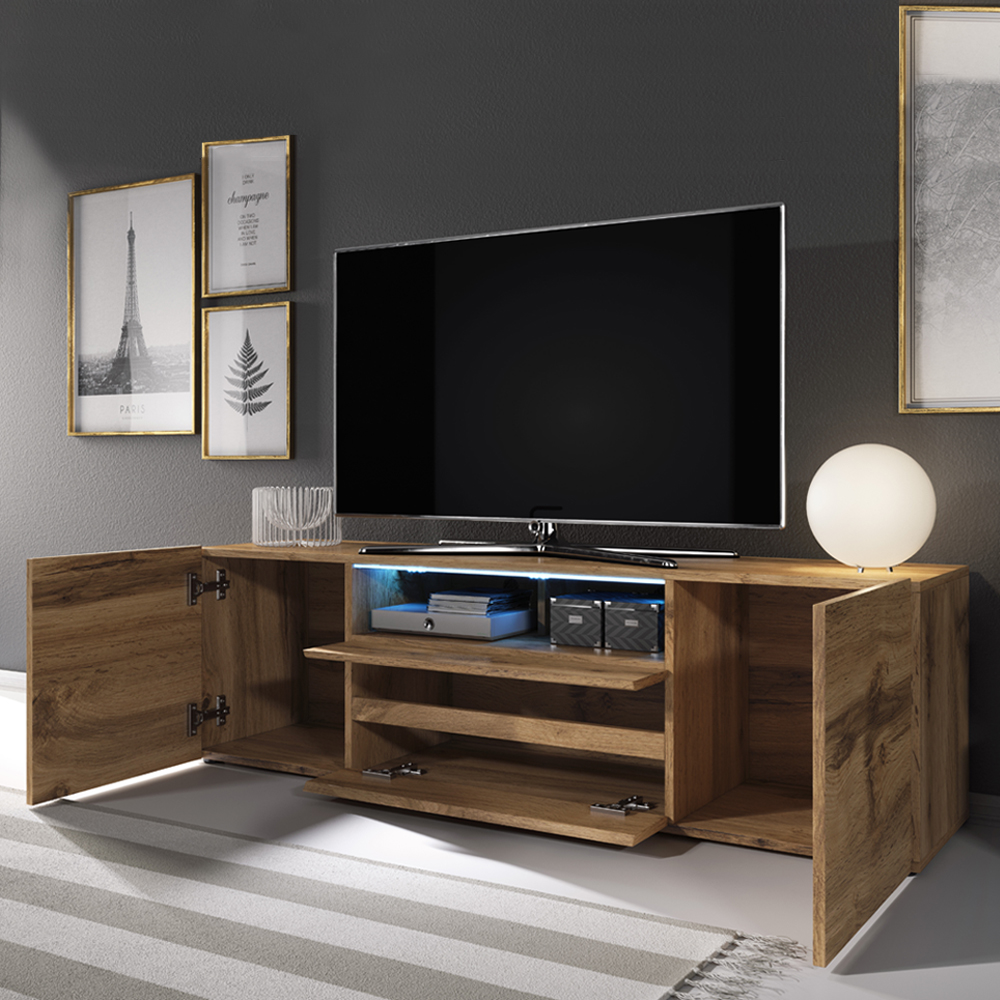 Selsey BROS - Meuble tv / Banc tv (137 cm, effet chêne wotan, avec LED) 2