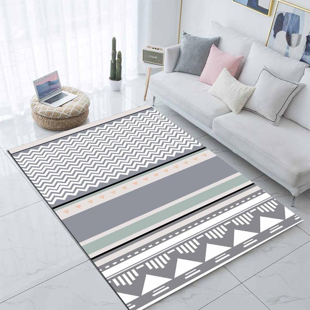 Else Gray White Geometric Scandinavian Nordec 3d Print Non Slip Microfiber Living Room Modern Carpet Washable Area Rug Mat