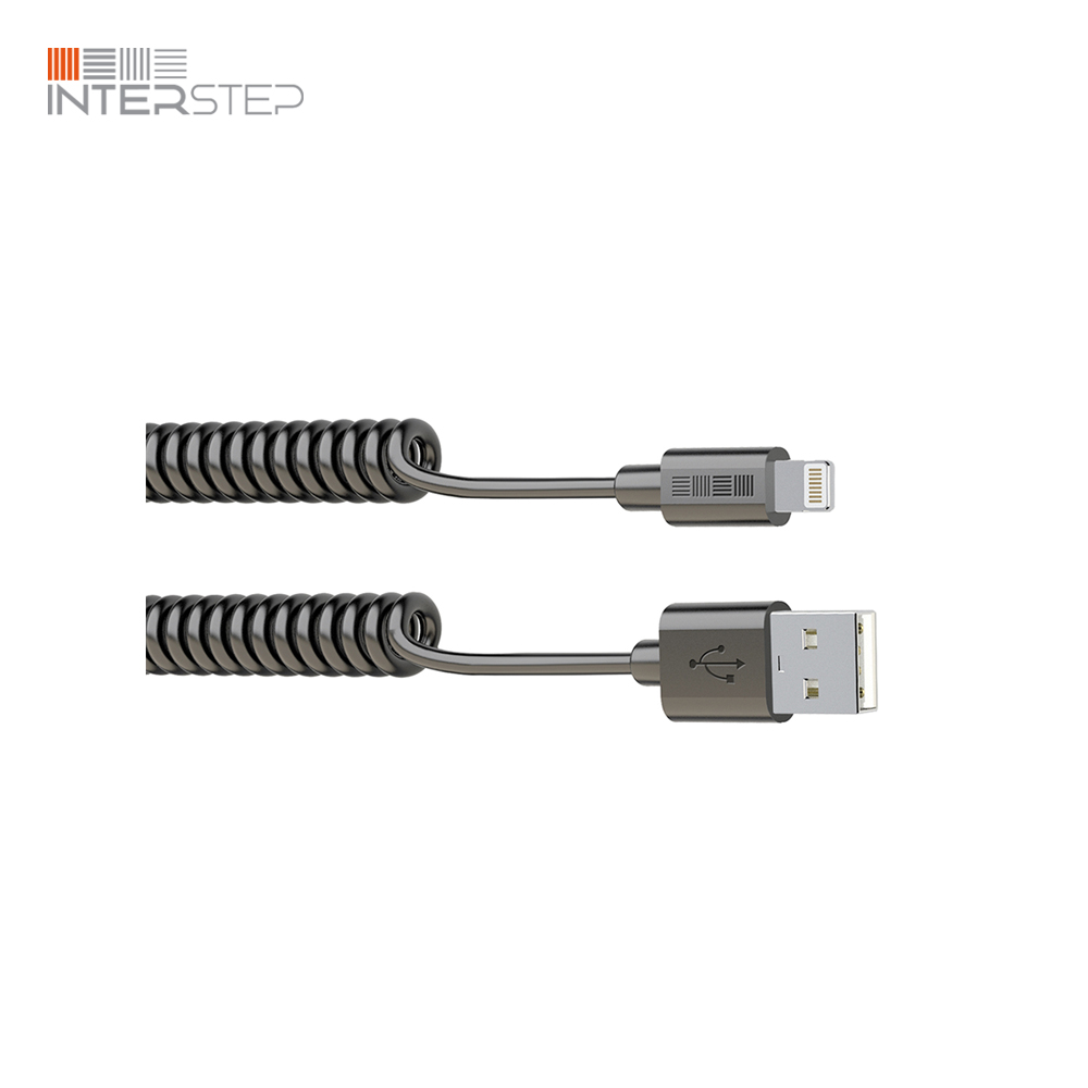 цена на Cable twisted INTERSTEP USB IPhone 8Pin MFI, 1,8 Meter