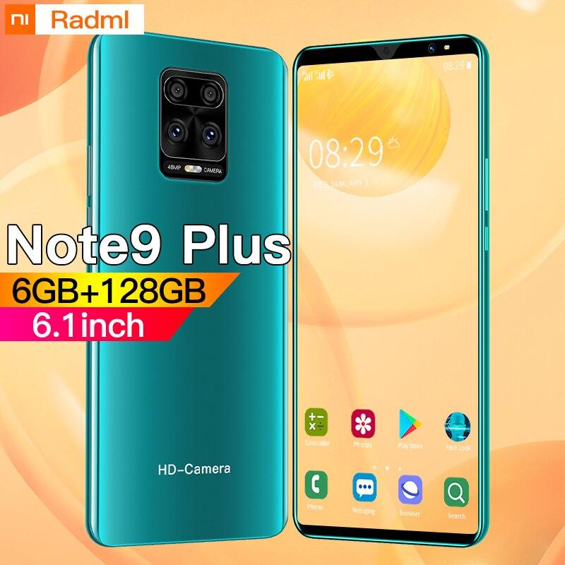 Глобальная версия Note9 плюс смартфон 6,1 дюйма 4G 5G 8MP + 13MP 6 ГБ + 128 Гб 4800 мАч разблокирован мобильный телефон Android сотовый телефон Celulares