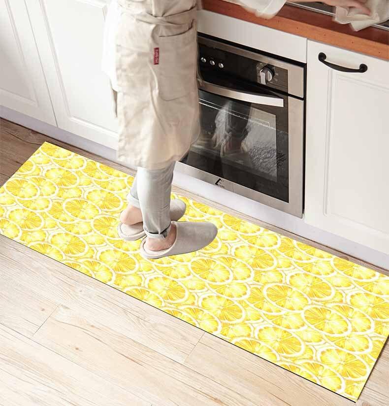 Else Yellow Slices Lemons Vegetables 3d Print Non Slip Microfiber Kitchen Counter Modern Decorative Washable Area Rug Mat