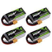 OVONIC-batterie LiPo 14.8V 1550mAh 4s 100C, avec connecteur XT60, pour FPV Freestyle, 1 pièce 4 pièces