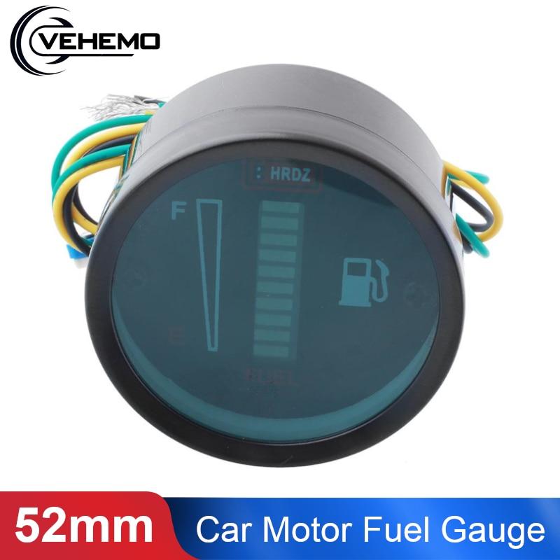 Universal Car Motor معيار الوقود لدراجة نارية 52 مللي متر 12 V/24 V الوقود مستوى متر 10 LED العرض الرقمية نسبة الوقود التصميم