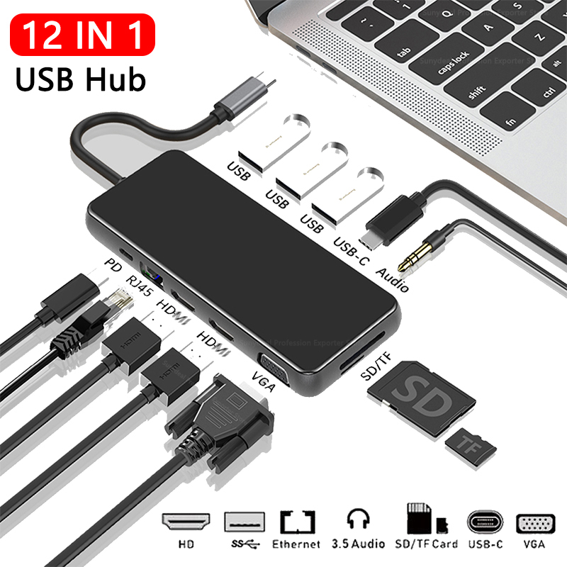 12in1 USB C 노트북 도킹 스테이션 USB 3.0 HD-MI VGA PD USB 허브 노트북 Macbook Pro HP DELL Surface 레노버 삼성 독