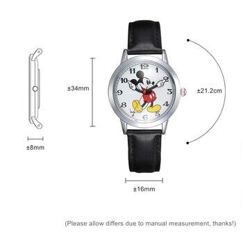 Original Disney Teen Leather Quartz Children Fashion Watches Kids Mickey Mouse Student Watch Boy Girl Best Gift Clock Relogio 6