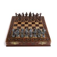 Royal British Army Antique Copper Metal Chess Set,Handmade Pieces,Natural Solid Wooden Chess Board, storage Inside King 8 cm