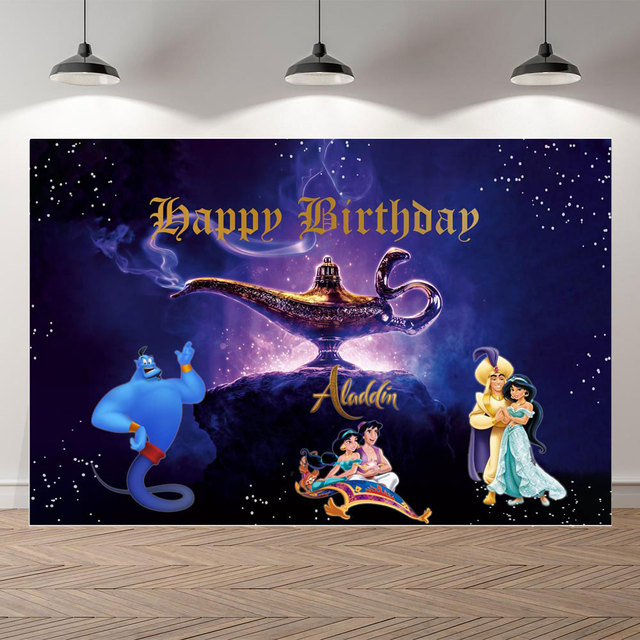Fotografie Achtergrond Aladdin Lamp Cartoon Prinses Achtergrond Verjaardag Party Jasmijn Achtergronden Fotostudio Photocall Photo Prop