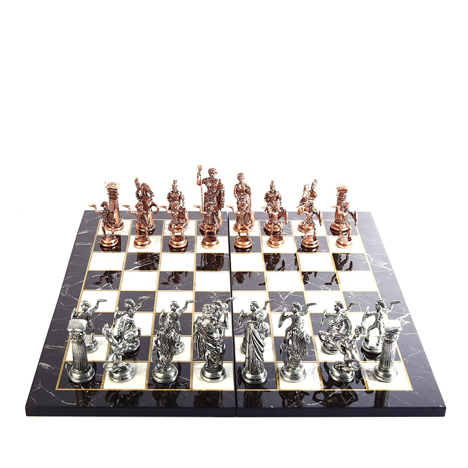 Historical Antique Copper Rome Figures Metal Chess Set for Adult,Handmade Pieces and Marble Design Wood Chess Board King 11 cm