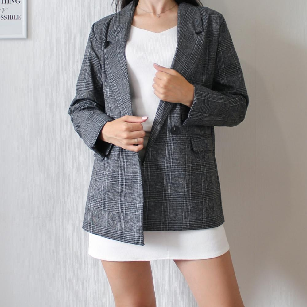 CBAFU autumn spring jacket women suit coats plaid outwear casual turn down collar office wear work runway jackets blazer N785 reviews №3 88695