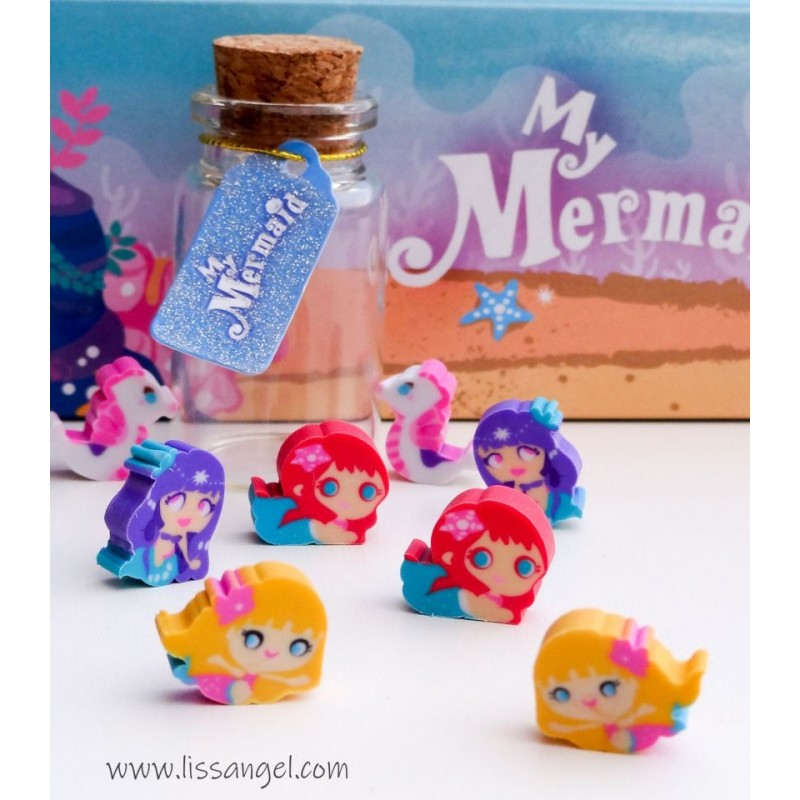 Bottle With Sea Mermaids Mini Erasers