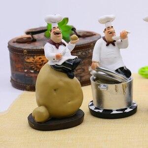 Image 2 - Strongwellレトロシェフモデルの装飾品樹脂工芸シェフ置物白トップ帽子調理ホームキッチンレストランの装飾