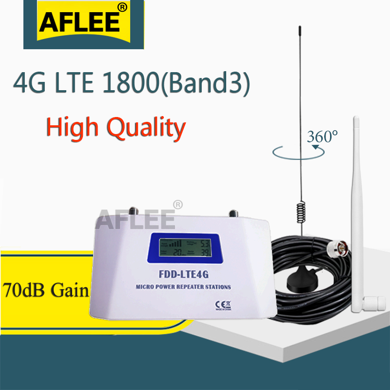 70dB FDD LTE 1800 4G Mobile Signal Booster 2G 4G Repeater 1800Mhz Cellphone Cellular GSM 1800 Cellular Amplifier+ Sucker Antenna