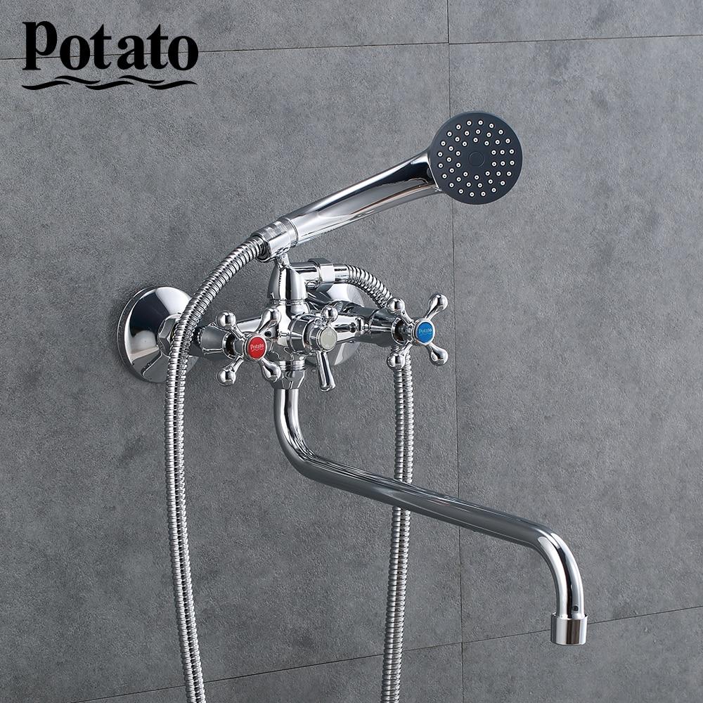 Potato Shower Mixer Hot And Cold Water Classic Shower Bath Faucet Long Nose Bathtub Mixer Dual Handle Dual Control Shower P2265