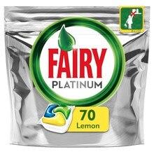 Tabletas para lavavajillas de limón Fairy Platinum, todo en uno, Limón (paquete de 70), vajilla, platos de lavado, detergentes para lavavajillas