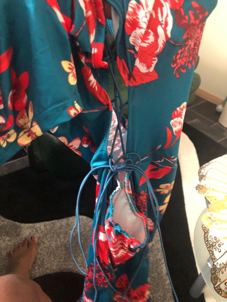 Women Green Criss Cross Back Frill Hem Shift Dress Streetwear Sheath Flora Print Short Sleeve Above Knee Mini Summer Party Dress photo review