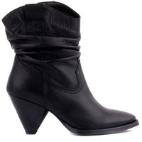 Sail Lakers Black Leather Zipperless Women Boots
