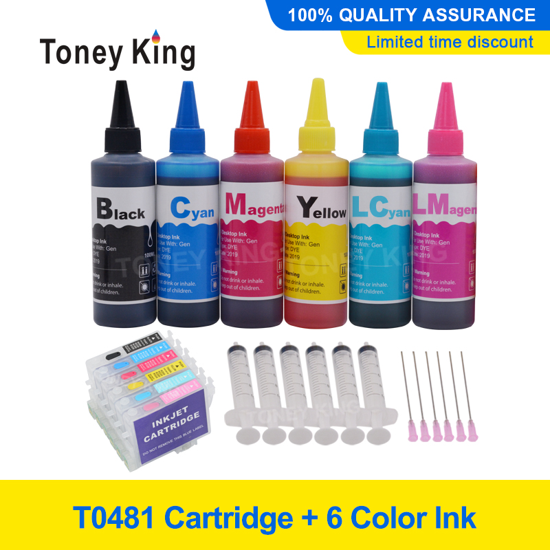 Toney King 6 Color T0481 Ink Cartridge + 6×100ml Printer Ink Kit For <font><b>Epson</b></font> Stylus Photo <font><b>R200</b></font> R220 R300 R300M R320 R340 With Chip image