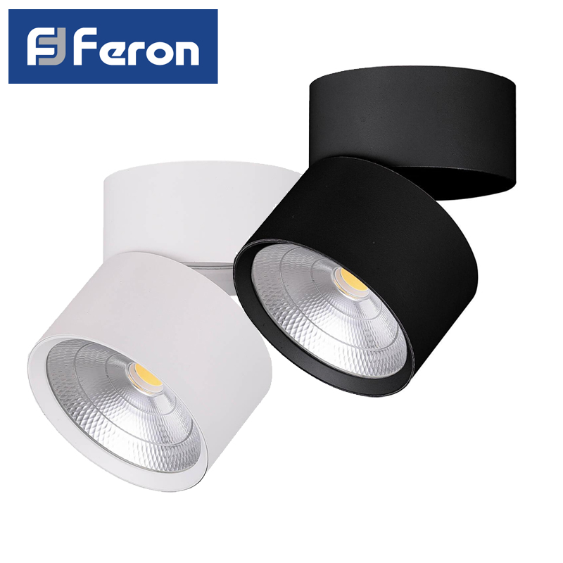 LED spot encastrable Feron AL520 patch 15W 25W 4000K blanc noir oblique