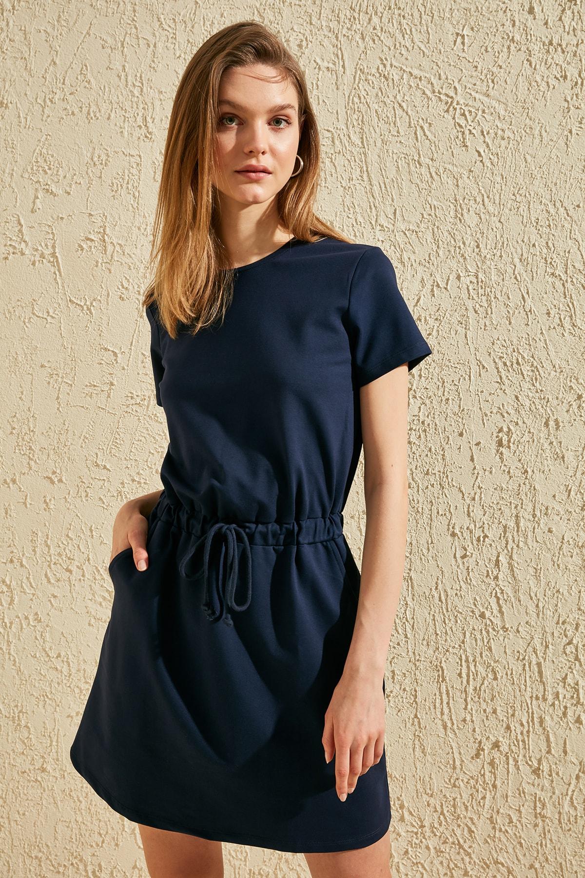 Trendyol Lacing Detailed Sweat Knitted Dress TWOSS20EL1075