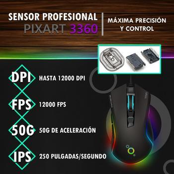 Ratón Gaming Profesional - MoonGaming TITAN / Pmw 3360 / 12000 Dpi / Full RGB 5
