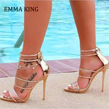 2020 Fashion Shoes Woman Sandals Peep Toe Thin High Heels Gladiator Sandals Golden Leather Women Shoes Party Buckle Strap Pumps(China)
