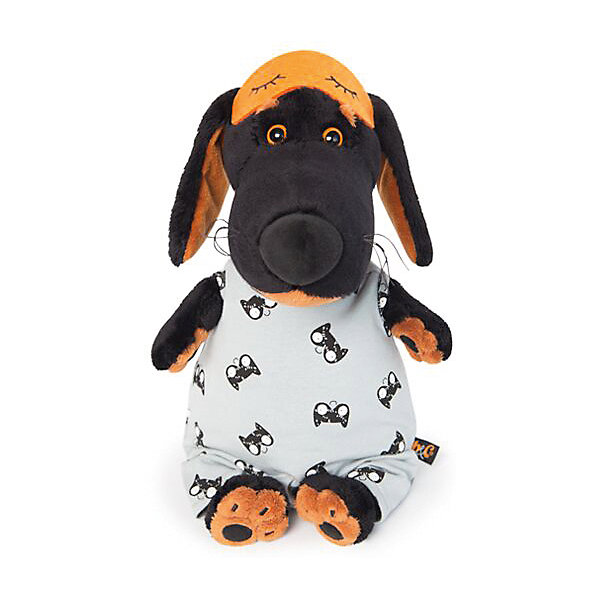 Soft Toy Budi Basa Dog Vaccine In A Sleeping Jumpsuit And Mask, 29 Cm