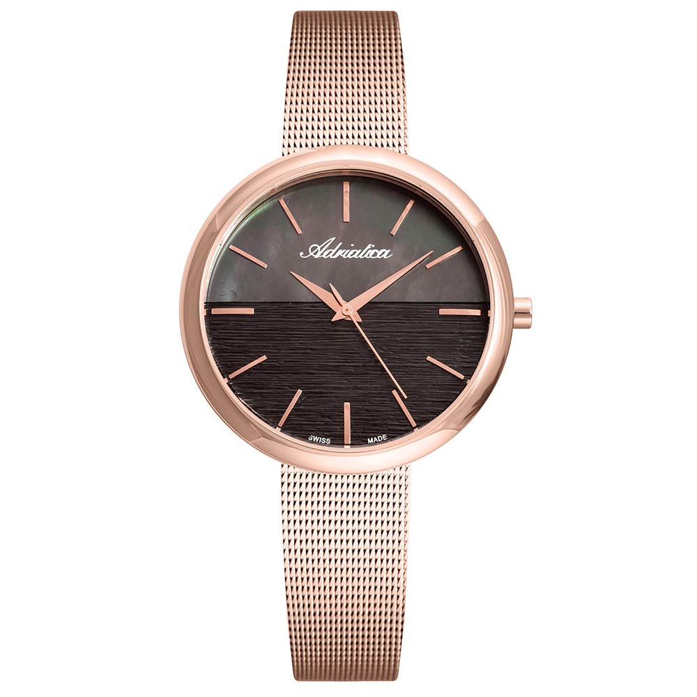 Women's Watches On A Steel Bracelet With A Pink PVD Coating With Mineral Glass Sunlight