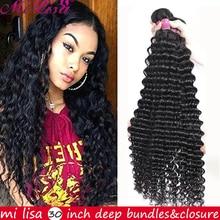 30 Inch Deep Wave Bundles Brazilian Remy Human Hair Extensions Mi Lisa 100% Human Hair Extension Wet And Wavy Human Hair Bundles