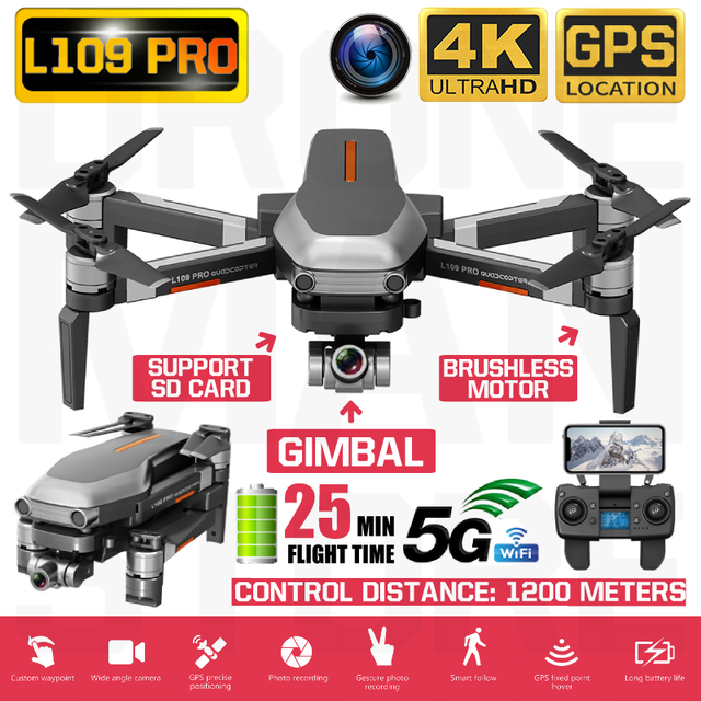 RC Quadcopter L109 Pro Drone GPS 4K HD Two Axis Anti Shake Stable Gimbal Camera 5G WIFI FPV Brushless Motor 1200m Long Distance