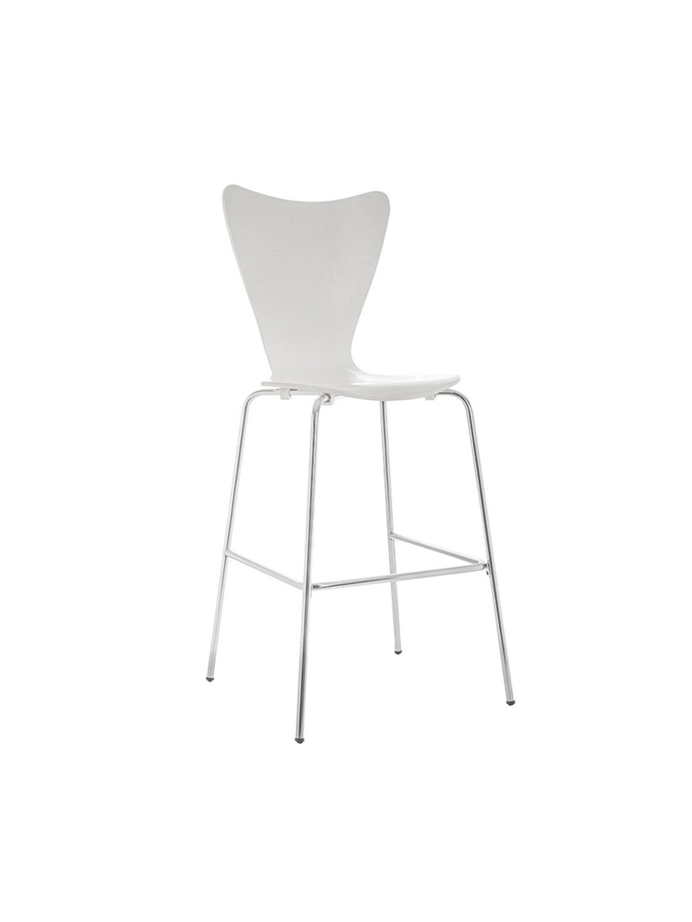 Pack Of 4 Stools With Structure Chrome Rod Footstool-wooden Seat White Color PIQUERAS & CURLED Mode