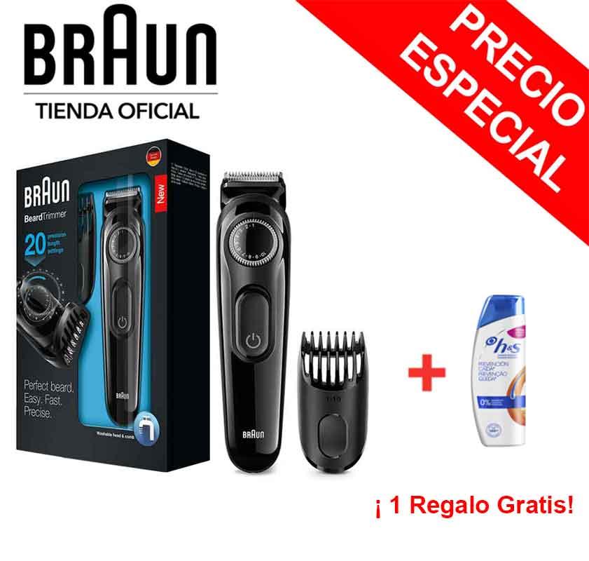 Braun BT3022 Pack Recortador De Barba De Precisión Recargable + Champú H&S De Regalo, Perfilador, Peine Recorte, 60 Min De Uso