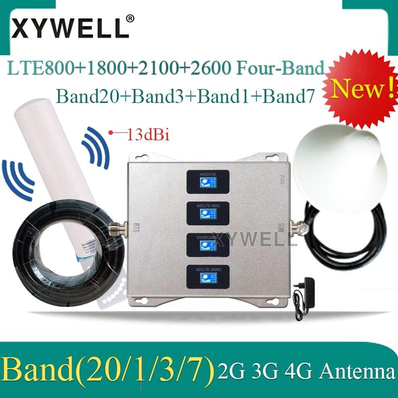 Amplificador celular LTE B20 800/1800/2100/2600mhz, amplificador de señal de cuatro bandas de 4g, 2g, 3g, 4g, DCS WCDMA LTE, repetidor de señal de móvil GSM Antena ADS-B/TCAS/SSR 10 dbi 1090MHz, adaptador macho SMA, conector amplificador de señal 375mm