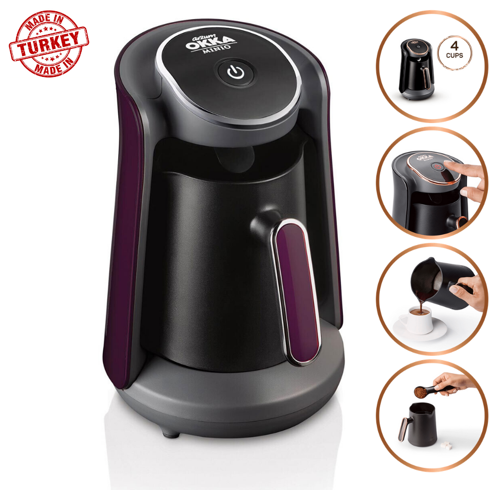 Arzum Okka Minio OK004 Automatic Turkish Coffee Maker Machine, 4 Cups Capacity (300 ML.) Washable Coffee Pot Alert System Purple