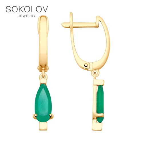 Drop Earrings With Stones With Stones With Stones With Stones SOKOLOV Gold Agate Fashion Jewelry 585 Women's Male