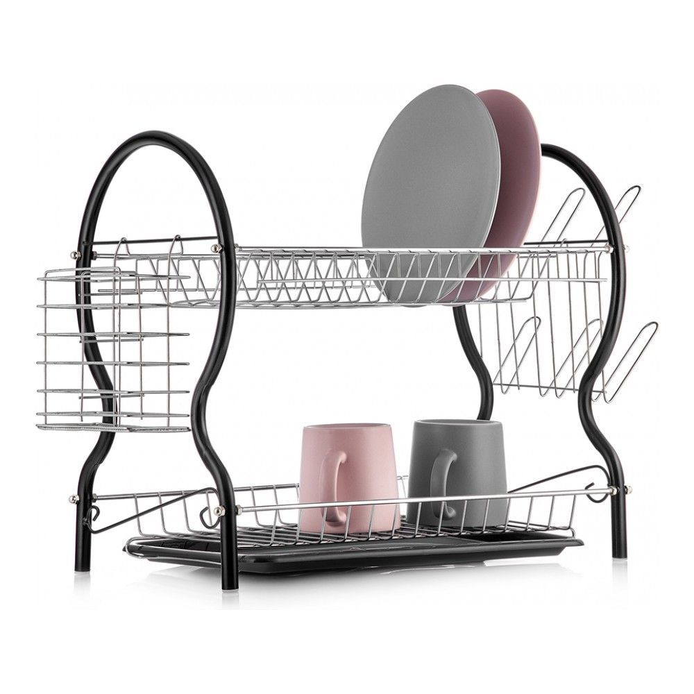 Drying Rack Drainer 2-ярусная With Tray And Holders For Cup And Cutlery Walmer, W04325539