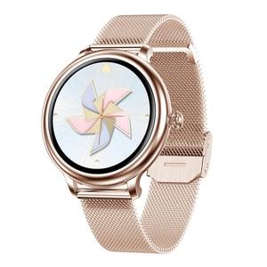 Image 5 - RUNDOING NY12 שעון אופנתי לנשים חכם שעון עגול למסך עגול עבור צג קצב לב הילדה תואם לאנדרואיד ו  IOS