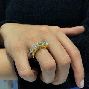 Swarovski modelo 5 mm banhado a ouro prata dibs anel