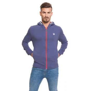 Lonsdale man sweatshirt hooded and zipper closure color blue AVIO spring summer logo on chest and back (18027) цена 2017