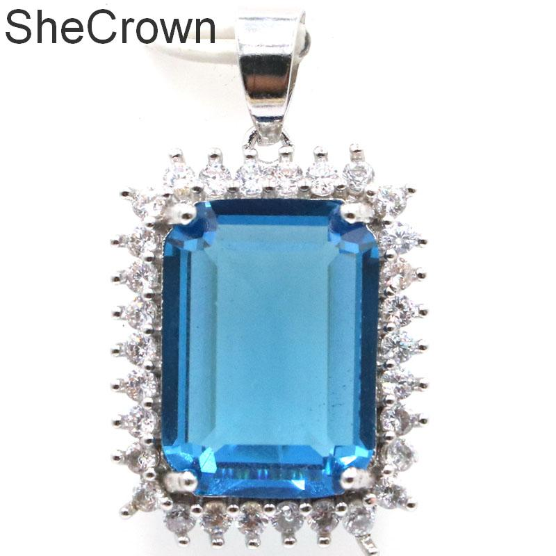 33x14mm Beautiful 18x13mm London Blue Topaz CZ Ladies Wedding Silver Pendant