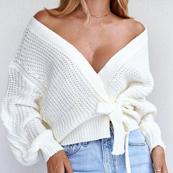 Autumn Winter Women Sweater Knit Pullover Long Sleeve Hollow Out Top Fashion Sexy V Neck Solid White Bow Women Knitted Sweater cut out neck back knit top