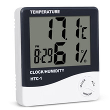 Electronic Temperature Humidity Meter Thermometer Hygrometer Weather Station Alarm Clock Outdoor Room Indoor HTC-1 Digital LCD