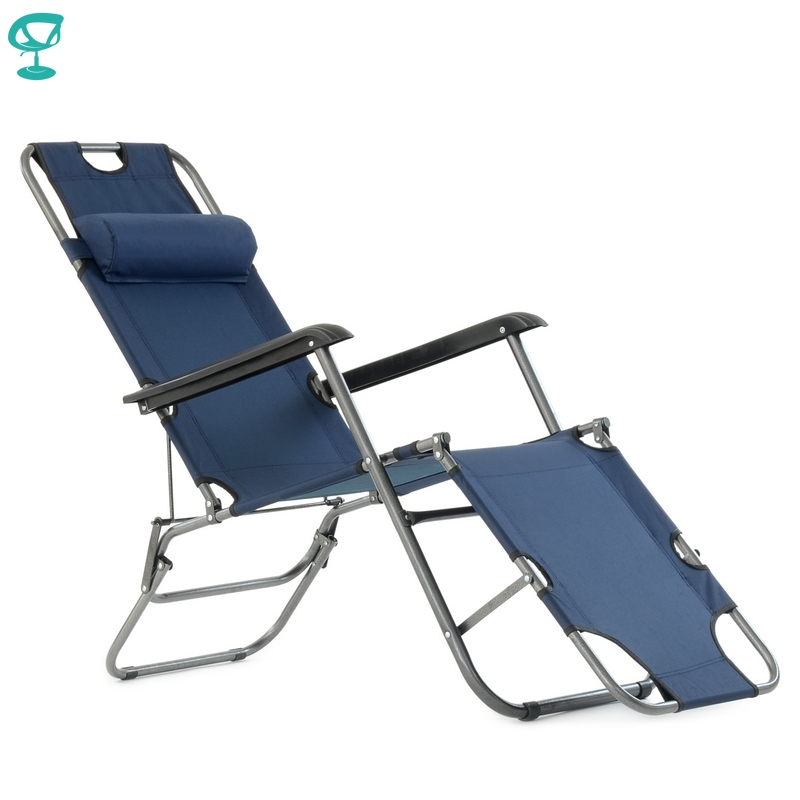 95635 Barneo PFC-12 Blue Folding Reclining Garden Deck Chair Sturdy Tubular Steel Frame Hard-Wearing Textoline Fabric Adjustable