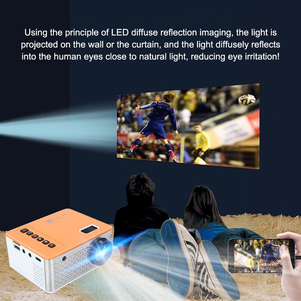 Unic uc28d mini projetor led 500 lumens 480*272 resolução física suporte 1080p hd 5v 2a filme mesma tela com telefone móvel-4